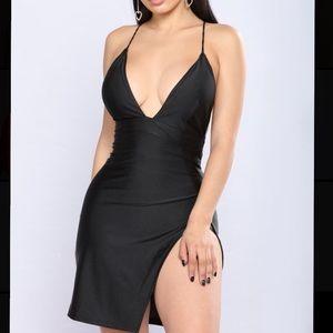 Black mini dress with slit